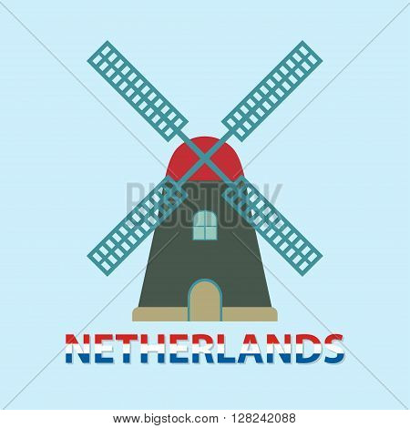 Windmill icon or sign. Netherlands and Amsterdam symbol. Flat design. Colorful vector illustration.