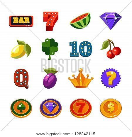 Fruit Machine Icons Collection In Classic Casino Style For the Flash Game In Flat Vector Design Isolated On White Background
