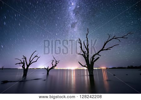 Star trails over Lake Bonney in South Australia