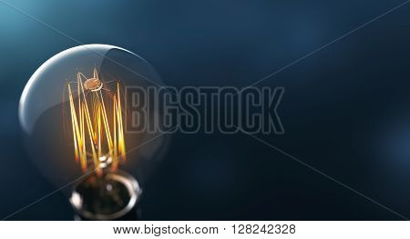 Glowing edison light bulb on blue background - 3D Rendering