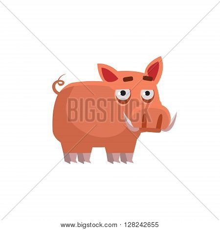 Wart Hog Funny Childish Cartoon Style Flat Vector Illustration In Bright Colors Isolated On White Background