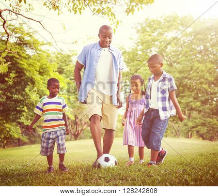 Family Bonding Recreation Sports Football Concept