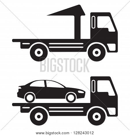 Tow truck or wrecker icon in flat design. Vehicle maintenance and repair.Vector illustration.