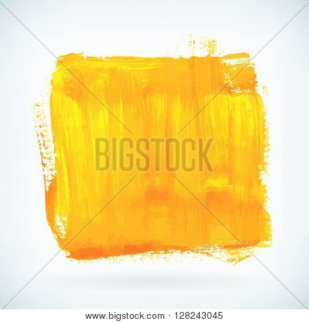 Yellow paint artistic dry brush stroke. Watercolor square acrylic hand painted backdrop for print web design and banners. Realistic vector background texture