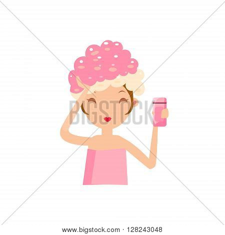 Girl Washing Her Hair Portrait Flat Cartoon Simple Illustration In Sweet Gitly Style Isolated On White Background