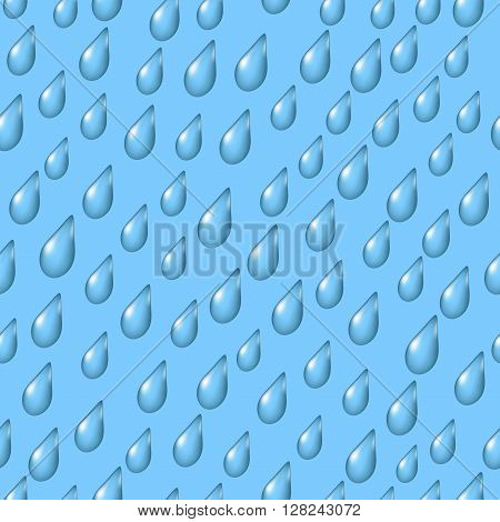 Seamless Background with Rain Drops on Blue Sky. Eps10, Contains Transparencies. Vector