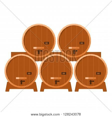 Shelving in the cellar with oak barrel seasoned with alcohol - whiskey brandy calvados wine. Vector flat Illustration. Isolated on a white background