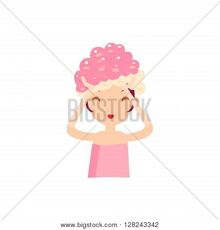Girl Massaging The Hair And Head Portrait Flat Cartoon Simple Illustration In Sweet Gitly Style Isolated On White Background