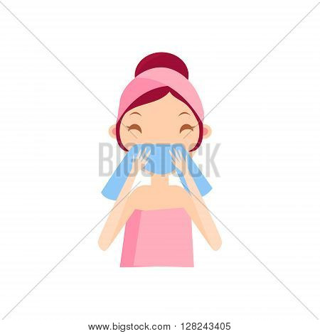 Girl Wiping Her Face Portrait Flat Cartoon Simple Illustration In Sweet Gitly Style Isolated On White Background