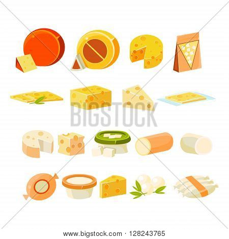 Different Cheese  Collection Of Flat Isolated Vector Icons In Bright Colors On White Background