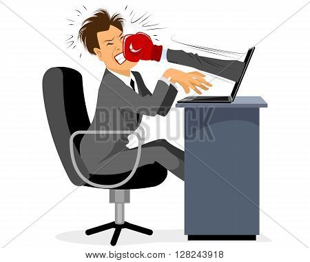 Vector illustration of a businessman getting hit in the face