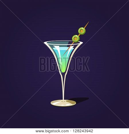 Martini Cocktail  Outlined Flat Vector Sticker In Cartoon Design Isolated On Dark Background