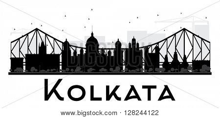 Kolkata City skyline black and white silhouette. Simple flat concept for tourism presentation, banner, placard or web site. Business travel concept. Cityscape with landmarks