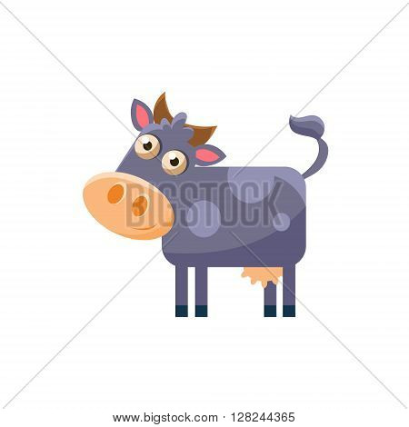 Cow Simplified Cute Illustration In Childish Flat Vector Design Isolated On White Background