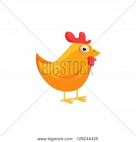 Chicken Simplified Cute Illustration In Childish Flat Vector Design Isolated On White Background