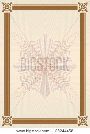 Ornamental frame or border. Certificate, diploma or voucher template. Vector illustration.