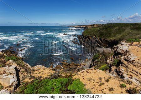 View of the Atlantic sea. Alentejo Portugal.