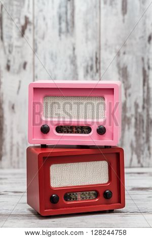 Pink And Red Radio With Retro Look