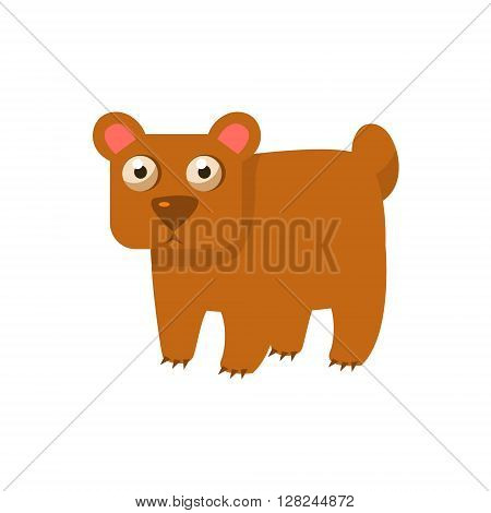 Brown Bear Simplified Cute Illustration In Childish Flat Vector Design Isolated On White Background