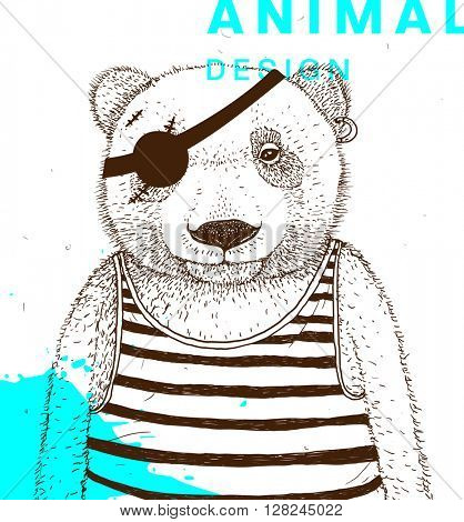 Hand Drawn Bear. Pirate with Eye Patch and Striped Shirt. Vector Graphic Illustration.