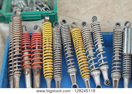 shock absorber for car at background texture