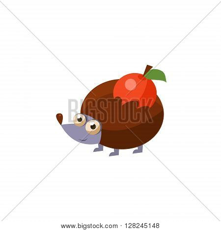 Hedgehog Simplified Cute Illustration In Childish Flat Vector Design Isolated On White Background