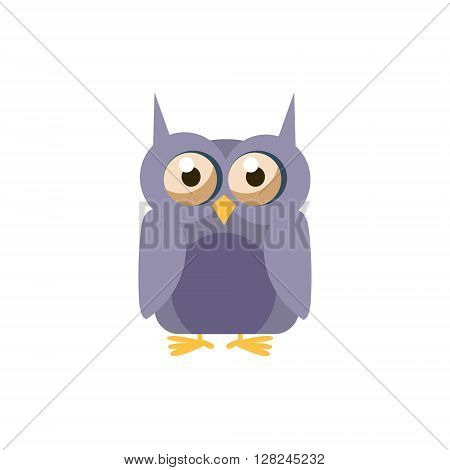 Owl Simplified Cute Illustration In Childish Flat Vector Design Isolated On White Background