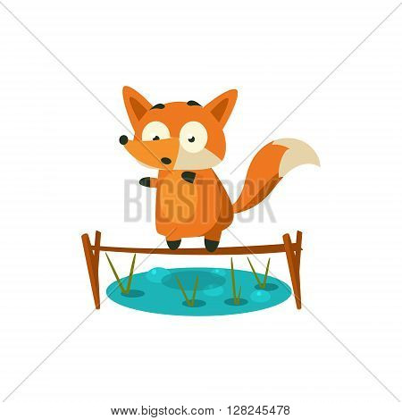 Fox Crossing The Pond Adorable Cartoon Style Flat Vector Illustration Isolated On White Background