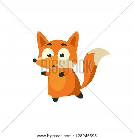 Fox Carefully Walking Away Adorable Cartoon Style Flat Vector Illustration Isolated On White Background