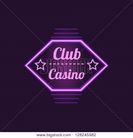 Club Casino Purple Neon Sign Las Vegas Style Illumination Bright Color Vector Design Sticker