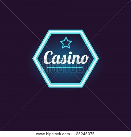Blue Hexahedron Casino Neon Sign Las Vegas Style Illumination Bright Color Vector Design Sticker