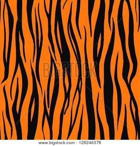 Vector Illustration of Tiger Print Seamless Pattern. Wild texture for Design, Website, Background, Banner. Zebra Template. Nature Wallpaper