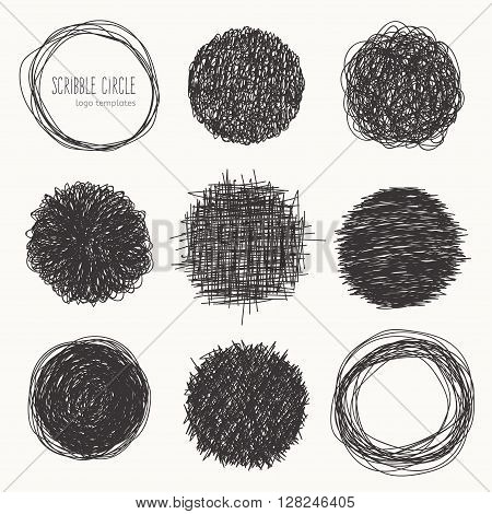 Sketched style. Vector set of scribble circles. Decorative round frames for your design.