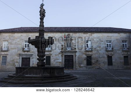 Old Archbishop's Palace in Braga in Portugal in the morning