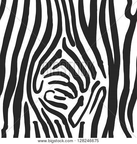 Vector Illustration of Zebra Print Seamless Pattern. Wild texture for Design, Website, Background, Banner. Zebra Template. Nature Wallpaper