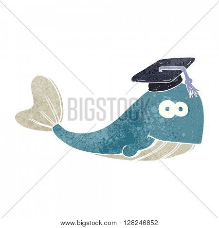 freehand retro cartoon whale graduate