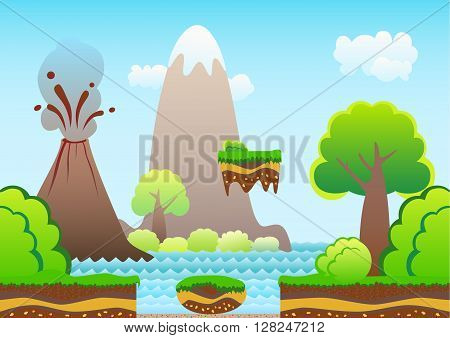 Seamless game background. Cartoon landscape mountains volcano sea bushes beach.