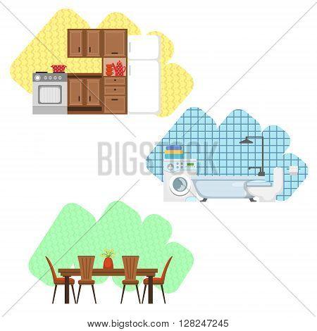 Kitchen, Bathroom And Dining Room Interior Design  Flat Cartoon Stylized Vector Illustration Set