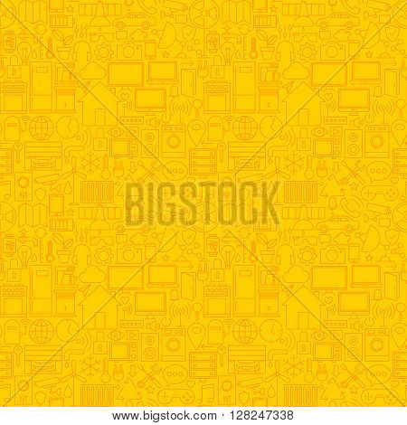 Thin Smart House Line Seamless Yellow Pattern. Vector Web Design Seamless Background in Trendy Modern Line Style. Technology Home Outline Art.