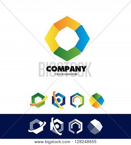 Vector company logo icon element template polygon hexagon corporate business set colors yellow orange blue green