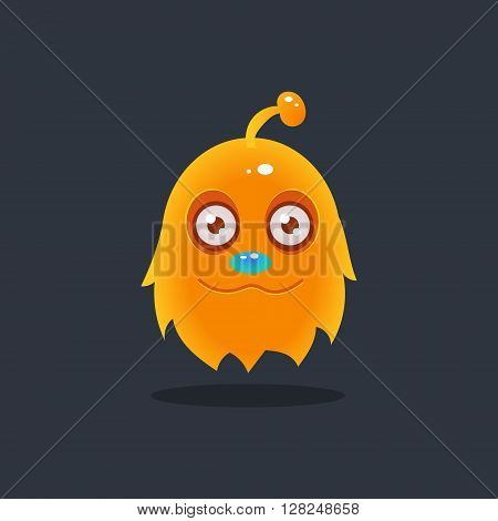 Furry Yellow Alien Cute Childish Flat Vector Bright Color Drawing Isolated On Dark Background