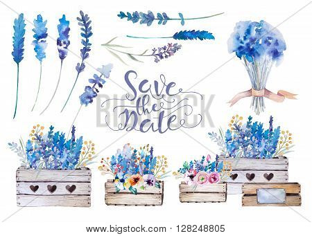 Set of watercolor bouquets of spring flowers in pot. Rustic outdoor floral set in shabby chic style tulip lavander. gardening country design. florist plant decoration. Isolated white.
