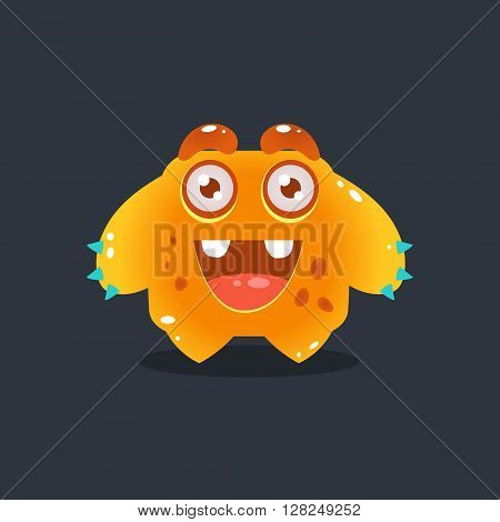 Yellow Alien Wants A Hug Cute Childish Flat Vector Bright Color Drawing Isolated On Dark Background