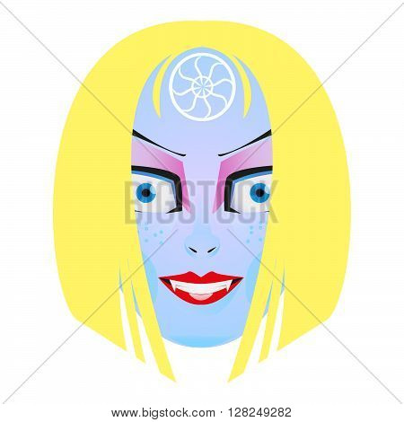 Cartoon girl's face with blonde hair. Women smiling face.