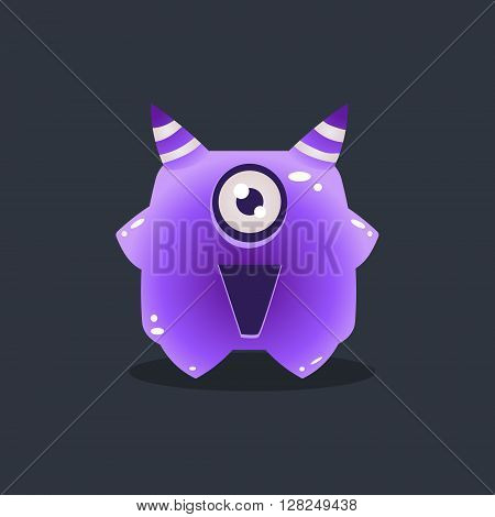Purple Alien With Horns Cute Childish Flat Vector Bright Color Drawing Isolated On Dark Background