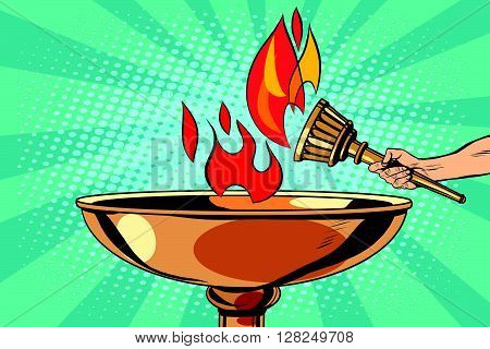 Fire torch bowl of fire pop art retro style. Antique fire. Sports fire. Vector torch
