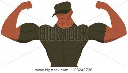 Cartoon military man for sport nutrition advertising. Bodybuilder. Military.