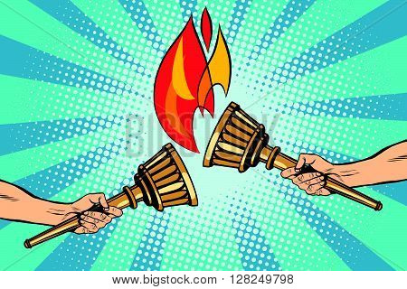 Torches torch relay pop art retro style. The fire ignited. Ancient antique Holy fire. Sports torches