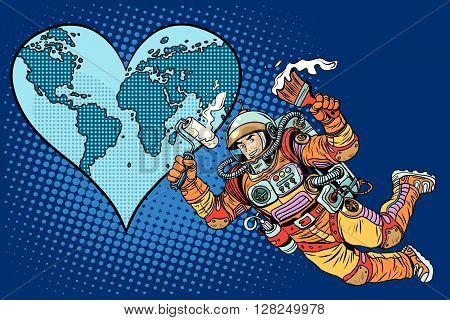 Environment day, Earth heart and the astronaut pop art retro style. Space and ecology. Repair beloved planet Earth.