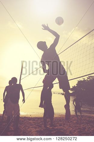 Beach Volleyball at sunset.